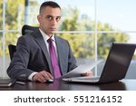 portrait of an angry boss or... | Shutterstock . vector #551216152