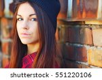young cute brunette girl with... | Shutterstock . vector #551220106