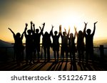 editable silhouettes of young...   Shutterstock . vector #551226718