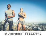 multi ethnic couple training in ... | Shutterstock . vector #551227942
