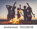 multicultural group of friends... | Shutterstock . vector #551228158