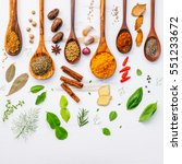 various herbs and spices in... | Shutterstock . vector #551233672