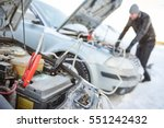 Automobile starter battery problem in winter cold weather conditions - stock photo