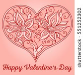 doodle heart with floral... | Shutterstock .eps vector #551252302