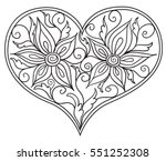 floral doodle heart. vector... | Shutterstock .eps vector #551252308