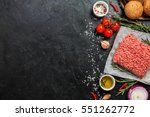 raw minced meat on paper ... | Shutterstock . vector #551262772