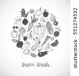 card with doodle fruits and... | Shutterstock .eps vector #551274532