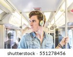 young man on the train in... | Shutterstock . vector #551278456