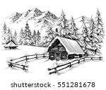 winter cabin in the mountains | Shutterstock .eps vector #551281678