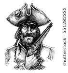 pirate portrait drawing | Shutterstock .eps vector #551282332