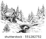 mountain cabin in the woods... | Shutterstock .eps vector #551282752