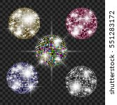 set of disco balls. disco... | Shutterstock .eps vector #551283172