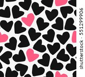 seamless pattern with hearts in ... | Shutterstock .eps vector #551299906