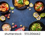 thai food background. dishes of ... | Shutterstock . vector #551306662