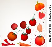 set of red vegetables vector... | Shutterstock .eps vector #551328016