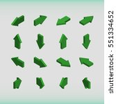set of isometric arrows green.... | Shutterstock .eps vector #551334652