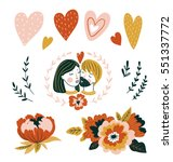 hand drawn vector love set with ... | Shutterstock .eps vector #551337772