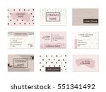 set of business cards with hand ... | Shutterstock .eps vector #551341492