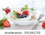 morning healthy breakfast with... | Shutterstock . vector #551341732