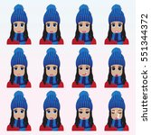 set of cute girl in winter hat... | Shutterstock .eps vector #551344372