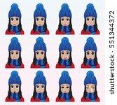 set of cute girl in winter hat... | Shutterstock .eps vector #551344372