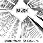 building wireframe. 3d render...   Shutterstock .eps vector #551352076