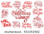 set of happy valentines day... | Shutterstock .eps vector #551352502