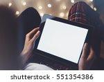 hipster girl using tablet... | Shutterstock . vector #551354386