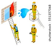 firefighter extinguishes fire... | Shutterstock .eps vector #551357068