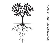 black tree with roots. vector... | Shutterstock .eps vector #551357692