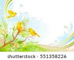 spring background. tree branch... | Shutterstock .eps vector #551358226
