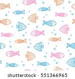 funny fish outline pattern on... | Shutterstock .eps vector #551366965
