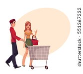 man pushing shopping cart and... | Shutterstock .eps vector #551367232