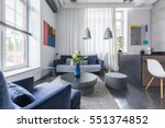 spacious living room with... | Shutterstock . vector #551374852
