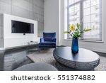 yellow flowers in vase on... | Shutterstock . vector #551374882