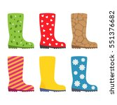 collection of rubber boots with ... | Shutterstock .eps vector #551376682