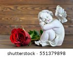 Angel And Red Rose On Wooden...