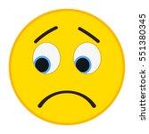 Sad Emoticon In Trendy Flat...