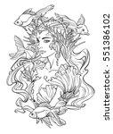 illustration of mermaid... | Shutterstock .eps vector #551386102