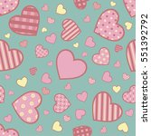 seamless pattern with hearts on ... | Shutterstock .eps vector #551392792