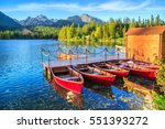 mountain lake strbske pleso in... | Shutterstock . vector #551393272