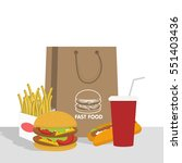 Banner With Fast Food With Col...