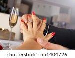 elegant man giving engagement... | Shutterstock . vector #551404726