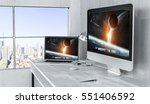 modern desktop interior with... | Shutterstock . vector #551406592