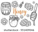 honey jar  barrel  spoon  bee ... | Shutterstock .eps vector #551409046
