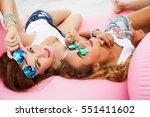 summer lifestyle portrait of... | Shutterstock . vector #551411602