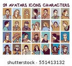 set avatars colors people icons ...   Shutterstock .eps vector #551413132