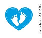 Blue Baby Footprints In The...