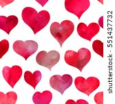 beautiful red hearts. seamless... | Shutterstock .eps vector #551437732