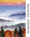 watercolor painting of mountains | Shutterstock . vector #551451796